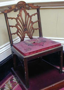 Called David Garrick's chair from the Drury Lane Theatre