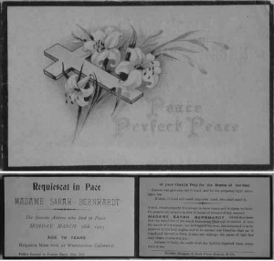 Admittance card for Sarah Bernhardt's Requiem Mass