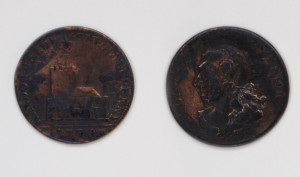 Hendon half penny token with head of David Garrick