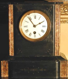 A marbled mantel clock