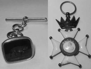 "Edmund Kean's fob seal and ""Masonic"" badge"