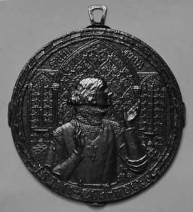 Bronze plaque of Sybil Thorndike as Saint Joan