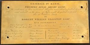 Plaque commemorating the rebuilding of Drury Lane in 1822
