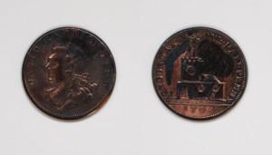 Coin showing head of David Garrick