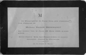 Invitation to Sarah Bernhardt's Funeral
