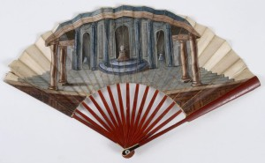 Fan with stage set and classical columns, 18th-century