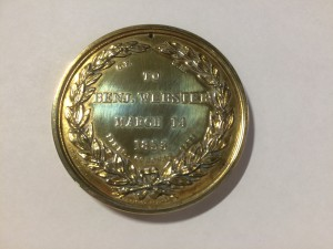 Medallion given to Benjamin Webster