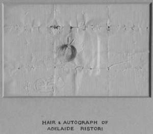 Lock of Adelaide Ristori's hair