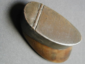 Old bone and pewter snuff box