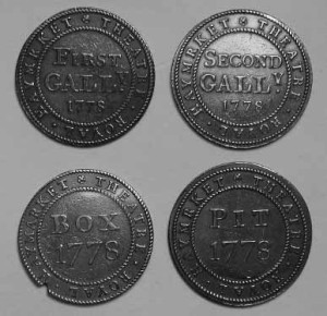 Four tokens of entry for the Haymarket Theatre