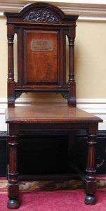 Chair on which Henry Irving died