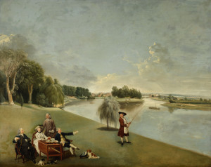 The Garden at Hampton House with Mr. and Mrs. Garrick taking tea