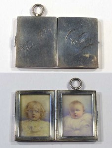 Fred Terry's locket with portraits of Phyllis and Dennis NeilsonTerry as children